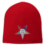 Order of the Eastern Star - Red Beanie Cap with Colorful Standard OES Symbol - Hat One Size Fits Most Adults. Freemason Merchandise.