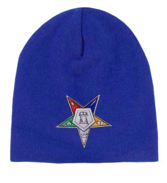 222aa146 Order of the Eastern Star - Blue Beanie Cap with Colorful Standard OES  Symbol - Hat One Size Fits Most Adults. Masonic Merchandise. - Mason Zone