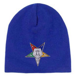 Order of the Eastern Star - Blue Beanie Cap with Colorful Standard OES Symbol - Hat One Size Fits Most Adults. Masonic Merchandise.