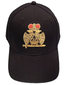 Masons Baseball Cap - Standard Scottish Rite Wings DOWN with Red Crown - 33rd Degree Masonic Black Hat with 32nd degree Symbol - One Size Fits Most Cap for Freemasons