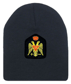 Masons Cap Beanie - Standard Scottish Rite Wings DOWN with Red Crown - Masonic Black Winter Hat with 33rd degree Symbol - One Size Fits Most Cap for Freemasons