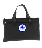Black Masonic Tote Bag for Freemasons - Blue and White Round Classic Logo