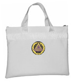 White Grand Master Masonic Tote Bag for Freemasons - Blue and White Round Classic Logo