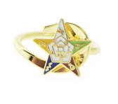 OES Gold-Plated Adjustable Ring with Order of the Eastern Star Symbolism Jewelry - One Size fits most.