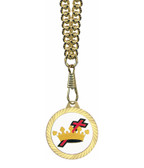 Knights of Templar Round Gold Color Rimmed Classic Style Pendant with Cross and Crown Symbolism - Includes Chain Necklace