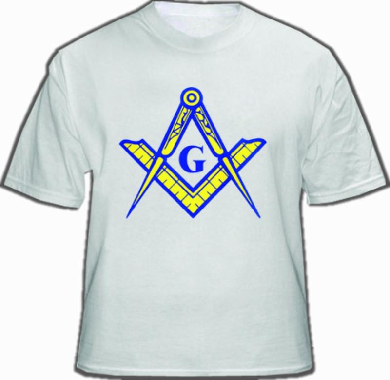White Masonic T-Shirt For Freemasons - Blue and Yellow Masonic Compass and  Square Alone  Masonic Apparel, Merchandise and gifts