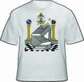 Freemason T-Shirt - Masonic Apparel - Colorful Masonic Steps with Double Pillars Design. Masonic Apparel, Merchandise and gifts.