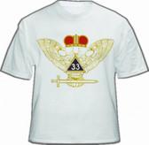 Masonic Scottish Rite T-Shirt (White) For 33rd Degree Freemasons - Multi Colored Wings UP Crowned Double Headed Eagle Design. Masonic Merchandise.