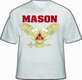 Masonic Shirt - Scottish Rite (White) 32nd Degree Freemasons. Colored Wings UP Double Headed Eagle Design w/ Bold Mason Text. Masonic Clothing and Apparel.