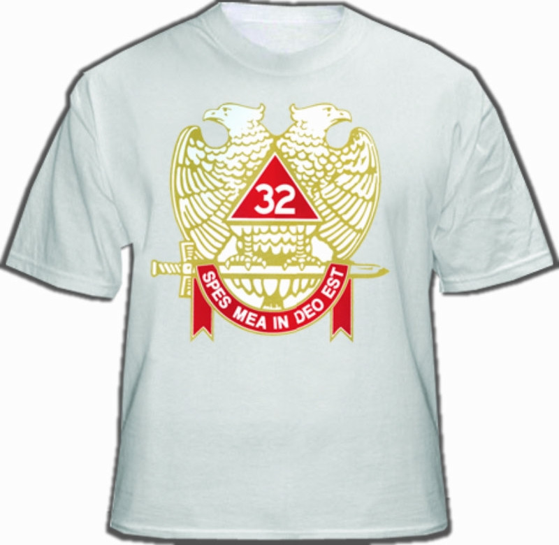 3b65c749 Masonic Shirt - Scottish Rite T-Shirt (White) 32nd Degree Freemasons.  Colored Wings DOWN Double Headed Eagle w/ Banner and Sword. Masonic Clothing  and ...