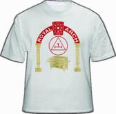 Masonic Royal Arch White T-Shirt For Freemasons - Standard Red logo Triple Tau with pillars design. Masonic Merchandise and gifts.