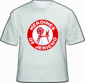 Heroines of Jericho White T-Shirt For Freemasons - Red Centered Classic Logo. Masonic Merchandise and gifts.