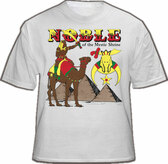 White Masonic Shriners T-Shirt For Freemasons - Multi Colored Design with Noble Rider with Sword on Camels. Masonic Merchandise and gifts.