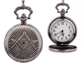 Masonic Regalia - Antique Style Masonic Pocket Watch / Mason Square ad Compass Design. Masonic Quartz Watches..