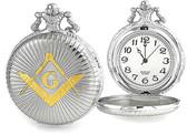 Freemason Pocket Watches - Duo-tone Steel and Gold Color Emblem / Mason Square ad Compass Design - Masonic Quartz Watches. Masonic Gifts.