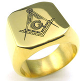 Freemason Ring / Masonic Ring for sale - Gold Plated 316L Stainless Steel Band for Masons - Masonic Rings for Sale