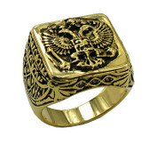 Gold Plated Stainless Steel Scottish Rite Freemason Ring / Masonic Ring - Coat of Arms - Chiseled Double Headed Eagle Design