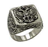 Silver Color Stainless Steel Scottish Rite Freemason Ring / Masonic Ring - Coat of Arms - Chiseled Double Headed Eagle Design