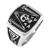 masonic skull rings 32nd Degree Masonic Skull Emblem with Pillars, Square and Compass Freemason Ring / Mason's Ring - Stainless Steel Jewelry