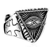 Triangle Pyramid shaped Freemason Ring - Eye of The Providence Inside Pyramid - Cryptic Masonic Symbol - Stainless Steel Mason Ring