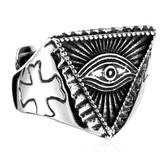 Triangle Pyramid shaped Freemason Ring - Eye of The Providence Inside Pyramid - Cryptic Masonic Symbol - Stainless Steel Mason Ring