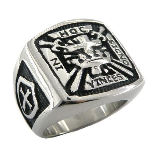 In Hoc Signo Vinces - The Knights of Templar Freemason Ring with Cross and  Shields on sides  Stainless Steel Masonic Rings for sale with Carved Design