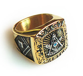 Gold Past Master Freemason Ring / Masonic Ring - Gold Plated and Steel Color Top - with Masonic Symbols