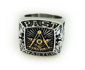 Silver Tone Past Master Freemason Ring / Masonic Ring - Stainless Steel with Gold Plated Color Top - with Masonic Symbols