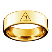 Scottish Rite Ring - Gold Color Freemason Ring 14th Degree Grand Elect Mason Symbol - Gold Tungsten Band Masonic Rings