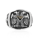 Scottish Rite Freemason Ring / Mason Ring - Stainless Steel Scottish Rite 32nd Degree Masonic Double Headed Eagle with sword, striped background and Grand Elect Freemason side logos. Masonic Jewelry..