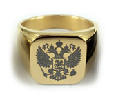 Flat Ring Gold Color Stainless Steel Scottish Rite Freemason Ring / Masonic Ring - Coat of Arms - Etched Double Headed Eagle Design