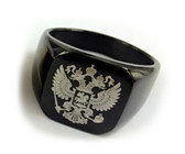 Flat Ring Black Color Stainless Steel Scottish Rite Freemason Ring / Masonic Ring - Coat of Arms - Etched Double Headed Eagle Design