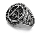 Stainless steel Masonic Ring with Knights of Templar Crosses. Freemason Ring with etched symbols