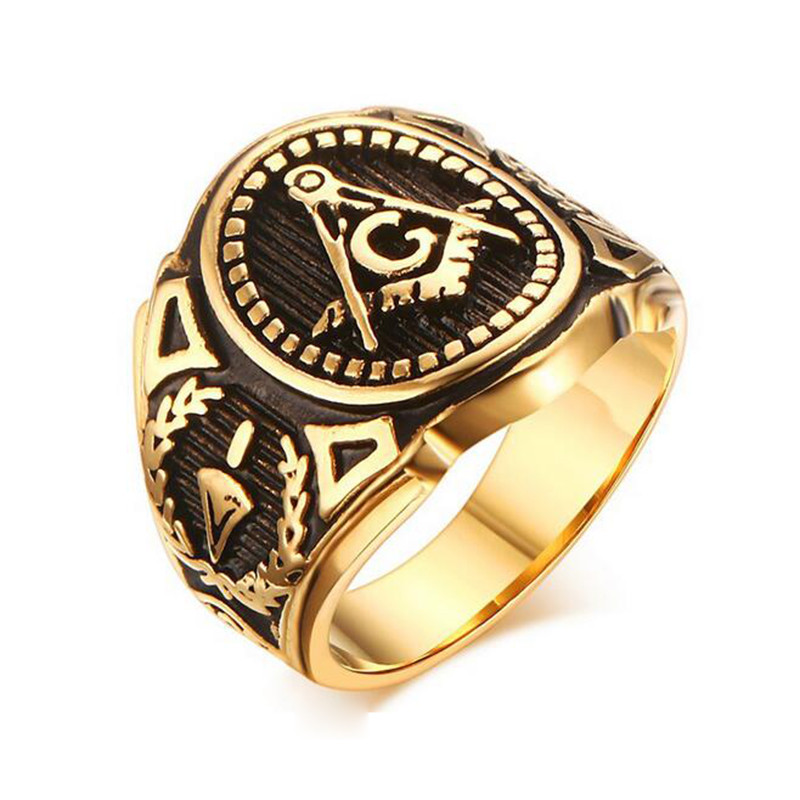 gold color freemason ring stainless steel with classic center