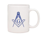 Masonic Gifts - White Ceramic Mug with Square & Compass imprint - 11oz  Coffee Mug