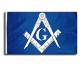 Masonic 3x5 Polyester Flag - With Blue Background and White Freemasons Symbol