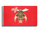 Masonic Shriner 3x5 Polyester Flag - With Red Background and Standard Freemasons Symbol
