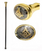 "Freemason's Walking Cane (36.25"") - Elegant Top Design with Gold and Black Tone Masonic Symbolism. Masonic Regalia Gifts"