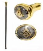 """Freemason's Walking Cane (36.25"""") - Elegant Top Design with Gold and Black Tone Masonic Symbolism. Masonic Regalia Gifts"""
