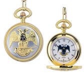 Scottish Rite Pocket Watch - Elegant Design with Gold Tone Steel 32nd Degree Masonic Order Symbol