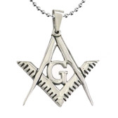 Freemason Pendant - Stainless Steel - Sleek and Shiny Classic Masonic Square and Compass Symbol