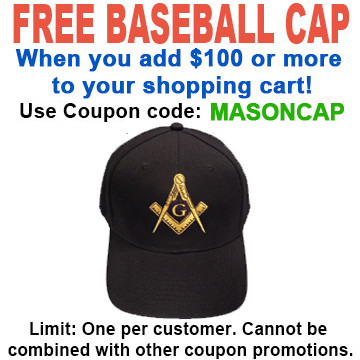 89315c4c1 FREE hat with over $100 - Use coupon code MASONCAP - Freemason's Baseball  Cap - Black Hat with Golden Standard Masonic Symbol - One Size Fits Most