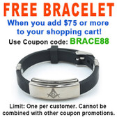 FREE with $75 or more! Coupon Code: BRACE88 - Get (1)  Freemason / Masonic Bracelet - Watch Style Black Rubber Mason Jewelry