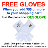 FREE with $55 or more! Coupon Code: OESGLOVE - Get (1) Pair of OES Classic Star Face Cotton Gloves - White (One Size Fits Most) - Order of the Eastern Star