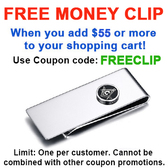 FREE with $55 or more! Coupon Code: FREECLIP - Get (1) Masonic Money Clip - Stainless Steel with Classic Standard Freemasons Button Symbol