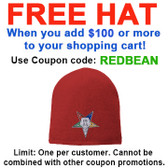 FREE hat with over $100 - Use coupon code REDBEAN - Order of the Eastern Star - Red Beanie Cap with Colorful Standard OES Symbol - Hat One Size Fits Most Adults