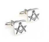 Masonic Cufflinks - Steel Square face with Etched Freemasons Badge Symbols. Freemason Regalia Merchandise Formal Wear Attire.