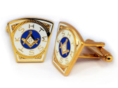 Masonic Cufflinks - Gold Tone Steel Masonic Keystone Standard Cufflinks For Freemasons - Mark Master. Freemason Regalia Merchandise for the Lodge