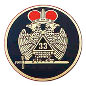 Masonic Car Emblem Decal / Scottish Rite 33rd Degree Scottish Wings Down - Red Crowned Bald eagles with black background for Freemasons