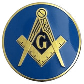 Round Masonic Car Emblem with Compass and Square Symbol on Blue Background - Masonic Car Emblem Disc for Freemasons - back adhesive sticker